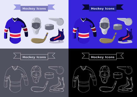 hoody: Hockey Sportswear Illustration. Helmet with Hockey-stick and Pullover and Puck and Whistle. Hockey Game Accessories Digital Vector Illustration.