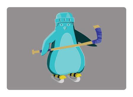hurl: Hockey Penguin Sportswear Illustration. Helmet with Hockey-stick and Racing Skates. Sports Symbol or Emblem Design. Hockey Game Accessories Digital Vector Illustration.