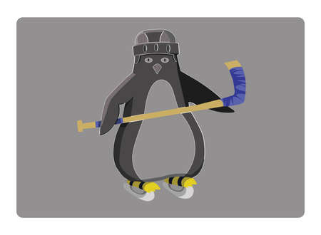 racing skates: Hockey Penguin Sportswear Illustration. Helmet with Hockey-stick and Racing Skates. Sports Symbol or Emblem Design. Hockey Game Accessories Digital Vector Illustration.