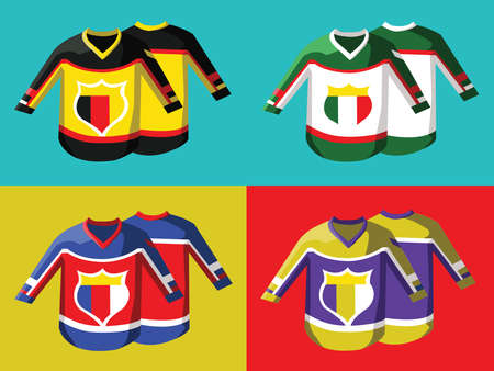 hoody: Hockey Pullover Illustration on Colorful Backdrop. Germany Italy and France. Activity Sportswear for Men and Boys. Stylish design for sports hoody. Hockey Game Accessories Digital Vector Illustration. Illustration