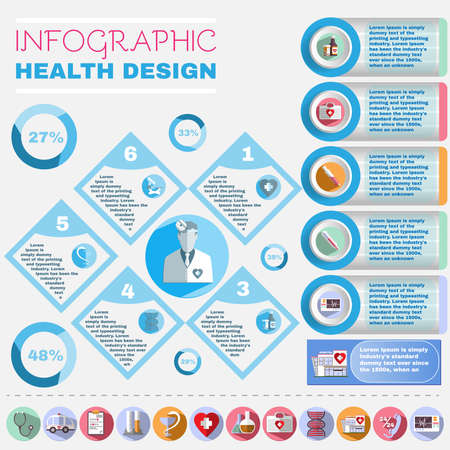 botiquin de primeros auxilios: Medical Vector Infographic. Health Design Flyer. Healthcare Related Colorful Icons. Digital Background Banner Illustration.