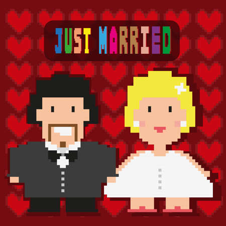 Happy Married couple frame. Pixelated groom and bride digital background vector illustration.