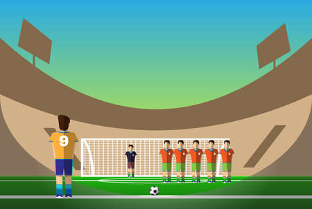 boy shorts: Penalty Soccer Players Defending The Goal. Sportswear flat design. Men on football stadium wearing blue boots with blue socks, green shorts and orange t-shirt. Digital background vector illustration.