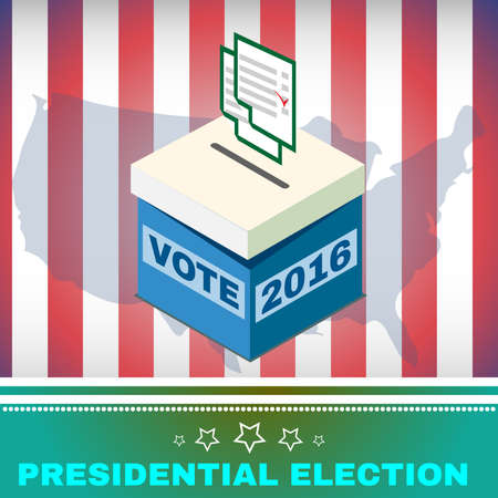 vote box: Election Day Campaign Ad Flyer. Vote Box and Voting Paper Social Promotion Banner. American Flags Symbolic Elements - Stripes and Stars. Digital vector illustration.