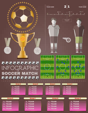 playoff: Football Soccer Game Strategy Plan and Statistics. Soccer Match Infographic. Championship Cup and Medals. Digital background vector illustration.