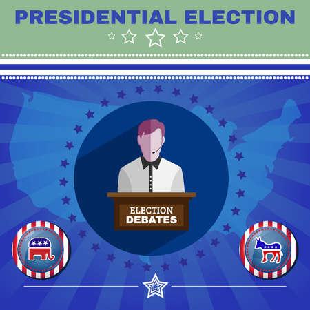 burro: Debates electorales campaña publicitaria de la bandera. Banner Promoción Social. Elefante contra burro. Elementos simbólicos de la bandera americana - rayas y estrellas. Ilustración vectorial Digital
