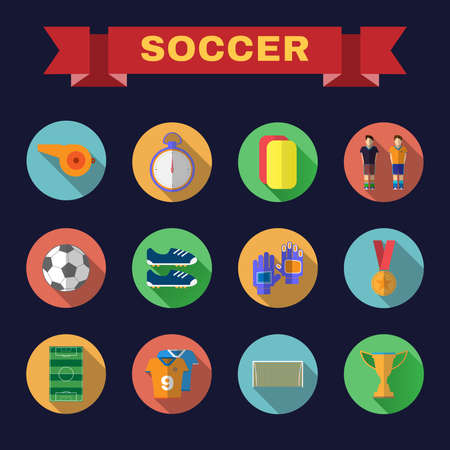 Soccer Game Icons. Football Elements - Playfield, Stopwatch, Medal, Gold Cup, Ball, Players and others. Digital background vector illustration. Illustration