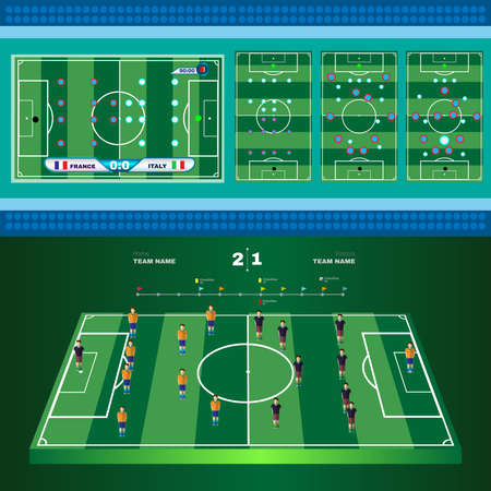 versus: Football Soccer Game Strategy Plan. Soccer Players and Match Score. Football 3D Game Field. France versus Italy Team. Digital background vector illustration.