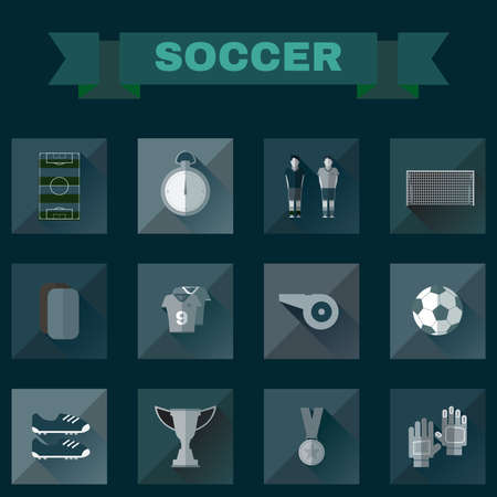 playfield: Soccer Game Icons. Football Elements - Playfield, Stopwatch, Medal, Gold Cup, Ball, Players and others. Digital background vector illustration. Illustration