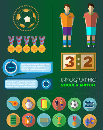 Football Soccer Match Infographic. Scoreboard with players and Match Score and Game Icons.. Football 3D Game Field. France versus Italy Team. Digital background vector illustration. Illustration