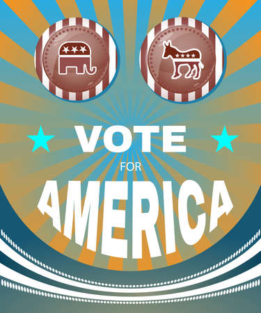 versus: Election Day Campaign Ad Flyer. Vote For America Social Promotion Banner. Elephant versus Donkey. American Flags Symbolic Elements - Stripes and Stars. Digital vector illustration.