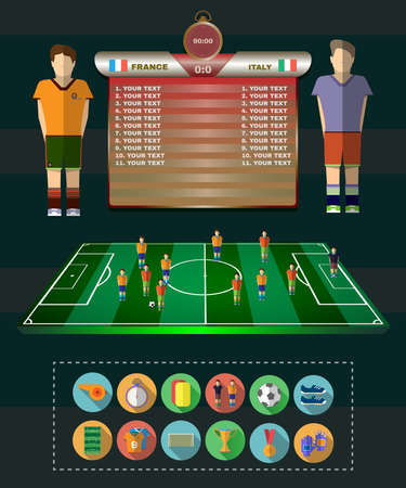 Football Soccer Match Statistics. Scoreboard with players and Match Score and Game Icons.. Football 3D Game Field. France versus Italy Team. Digital background vector illustration. Illustration