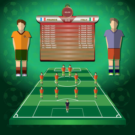 playoff: Football Soccer Match Statistics. Scoreboard with players and Match Score and Game Icons.. Football 3D Game Field. France versus Italy Team. Digital background vector illustration. Illustration
