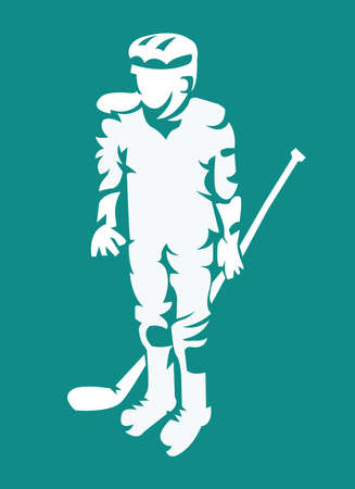 Hurl: Hockey Player Light on Dark Silhouette with Hockey Stick or Club in Hand. Sportswear Mascot for a Logotype. Digital Vector Illustration. Illustration