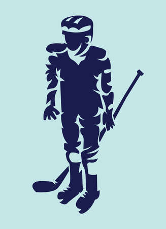 hurl: Hockey Player Dark on Light Silhouette with Hockey Stick or Club in Hand. Sportswear Mascot for a icon. Digital Vector Illustration. Illustration