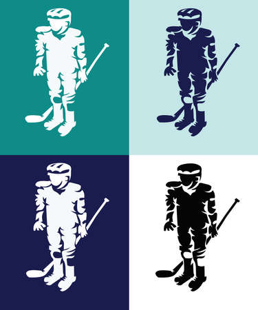 sportswear: Hockey Players Silhouettes with Hockey Stick or Club in Hand. Sportswear Mascot for a icon. Digital Vector Illustration.