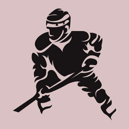 hurl: Hockey Player Dark on Light Silhouette with Hockey Stick or Club in Hand. Sportswear Mascot for a Logotype. Digital Vector Illustration.