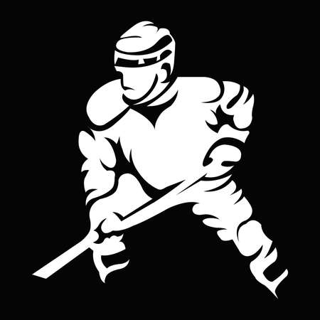 Hurl: Hockey Player Light on Dark Silhouette with Hockey Stick or Club in Hand. Sportswear Mascot for a icon. Digital Vector Illustration.