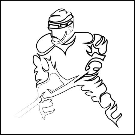 hurl: Hockey Player Line Art Silhouette with Hockey Stick or Club in Hand. Sportswear Mascot for a icon. Digital Vector Illustration.