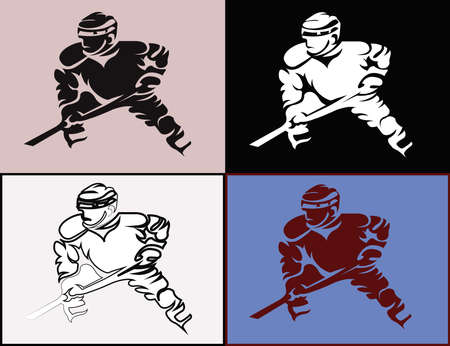 hurl: Hockey Players Silhouettes with Hockey Stick or Club in Hand. Sportswear Mascot for a icon. Digital Vector Illustration.