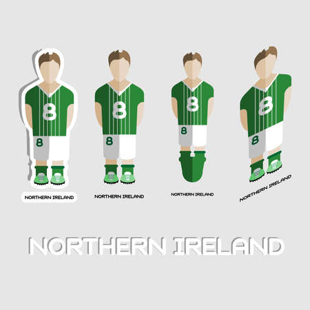 northern ireland: Northern Ireland Soccer Team Sportswear Template. Front View of Outdoor Activity Sportswear for Men and Boys. Digital background vector illustration. Stylish design for t-shirts, shorts and boots.