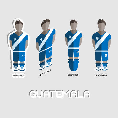 for boys: Guatemala Soccer Team Sportswear Template. Front View of Outdoor Activity Sportswear for Men and Boys. Digital background vector illustration. Stylish design for t-shirts, shorts and boots. Illustration