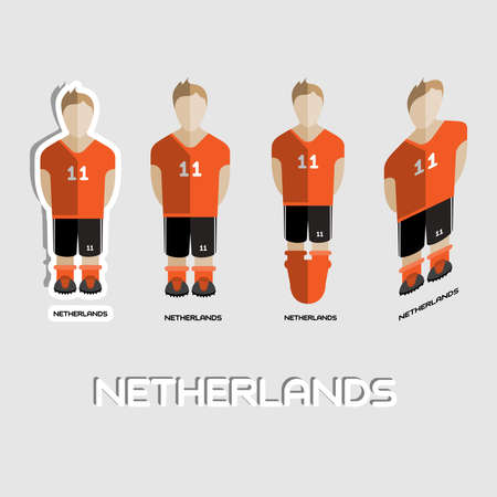 number eleven: Netherlands Soccer Team Sportswear Template. Front View of Outdoor Activity Sportswear for Men and Boys. Digital background vector illustration. Stylish design for t-shirts, shorts and boots.