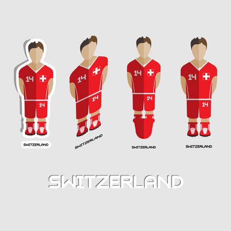 game boy: Switzerland Soccer Team Sportswear Template. Front View of Outdoor Activity Sportswear for Men and Boys. Digital background vector illustration. Stylish design for t-shirts, shorts and boots.