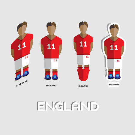 boy in shorts: England Soccer Team Sportswear Template. Front View of Outdoor Activity Sportswear for Men and Boys. Digital background vector illustration. Stylish design for t-shirts, shorts and boots.