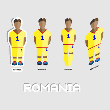 soccer boots: Romania Soccer Team Sportswear Template. Front View of Outdoor Activity Sportswear for Men and Boys. Digital background vector illustration. Stylish design for t-shirts, shorts and boots.