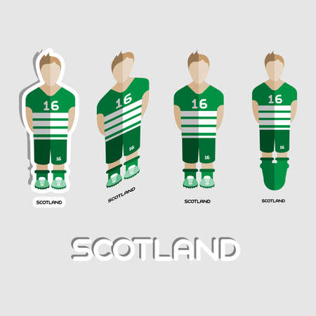 for boys: Scotland Soccer Team Sportswear Template. Front View of Outdoor Activity Sportswear for Men and Boys. Digital background vector illustration. Stylish design for t-shirts, shorts and boots. Illustration