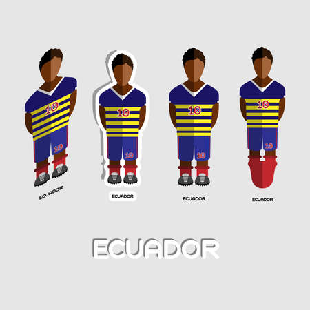 game boy: Ecuador Soccer Team Sportswear Template. Front View of Outdoor Activity Sportswear for Men and Boys. Digital background vector illustration. Stylish design for t-shirts, shorts and boots.