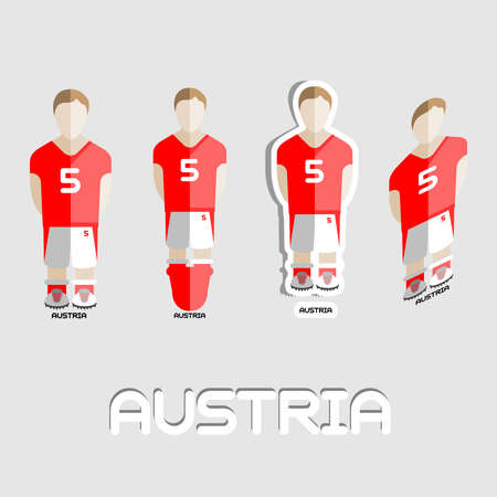 soccer boots: Austria Soccer Team Sportswear Template. Front View of Outdoor Activity Sportswear for Men and Boys. Digital background vector illustration. Stylish design for t-shirts, shorts and boots.