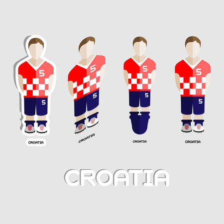 menswear: Croatia Soccer Team Sportswear Template. Front View of Outdoor Activity Sportswear for Men and Boys. Digital background vector illustration. Stylish design for t-shirts, shorts and boots.