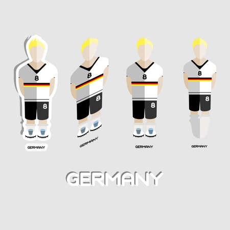 menswear: Germany Soccer Team Sportswear Template. Front View of Outdoor Activity Sportswear for Men and Boys. Digital background vector illustration. Stylish design for t-shirts, shorts and boots. Illustration