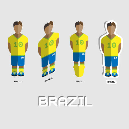game boy: Brazil Soccer Team Sportswear Template. Front View of Outdoor Activity Sportswear for Men and Boys. Digital background vector illustration. Stylish design for t-shirts, shorts and boots. Illustration