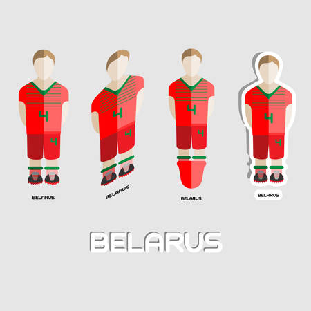 sportswear: Belarus Soccer Team Sportswear Template. Front View of Outdoor Activity Sportswear for Men and Boys. Digital background vector illustration. Stylish design for t-shirts, shorts and boots.