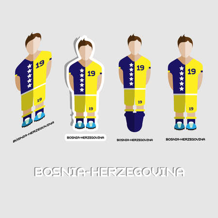 play boy: Bosnia-Herzegovina Soccer Team Sportswear Template. Front View of Outdoor Activity Sportswear for Men and Boys. Digital background vector illustration. Stylish design for t-shirts, shorts and boots.