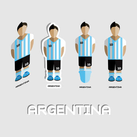 boy shorts: Argentina Soccer Team Sportswear Template. Front View of Outdoor Activity Sportswear for Men and Boys. Digital background vector illustration. Stylish design for t-shirts, shorts and boots.