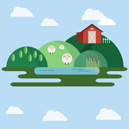 sheep sign: Countryside landscape view. Farm animals on the field near red barn. Green hills in the skies with clouds. Flat cartoon style vector illustration.