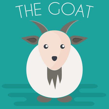 Goat mascot icon in flat style. Farm animal. Cartoon vector illustration.