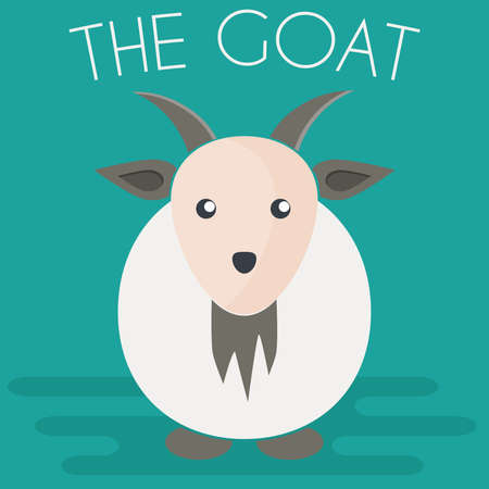 Goat mascot icon in flat style. Farm animal. Cartoon vector illustration.