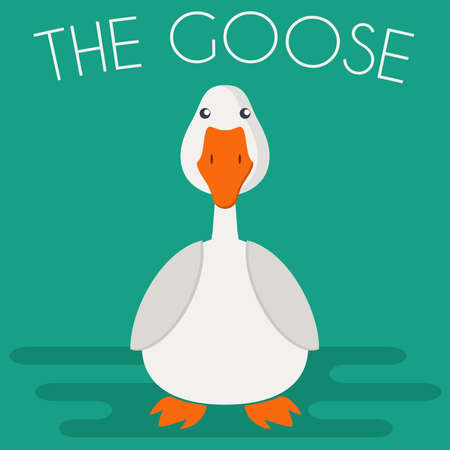 Goose mascot icon in flat style. Farm bird. Cartoon vector illustration. Ilustracja