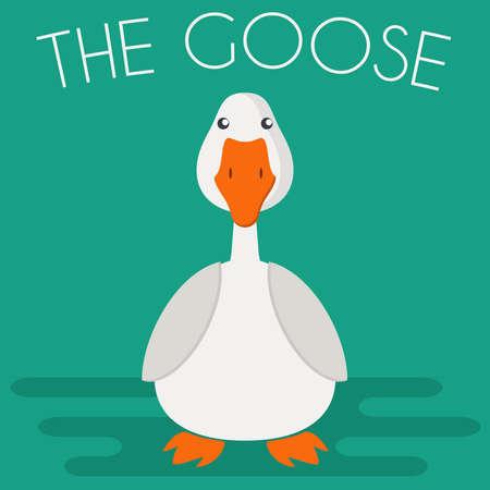 icono de la mascota del ganso en estilo plano. Aves de granja. ilustración vectorial de dibujos animados. Ilustración de vector
