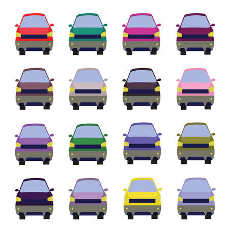 sixteen: Sixteen Vehicles Front View. Car icons set. Digital vector flat illustration.