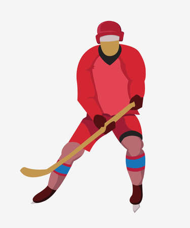 hurl: Hockey Player in Red Uniform with a hockey stick and skates. Colorful winter sports mascot or emblem of a hockey man player. Digital vector illustration.