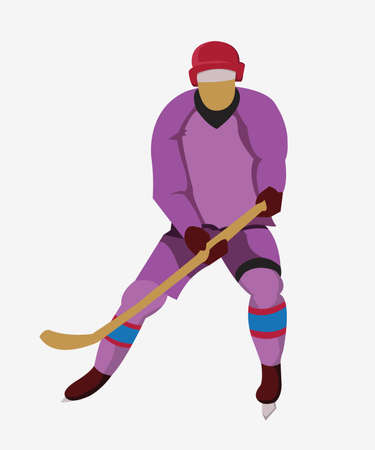 Hurl: Hockey Player in Purple Uniform with a hockey stick and skates. Colorful winter sports mascot or emblem of a hockey man player. Digital vector illustration.