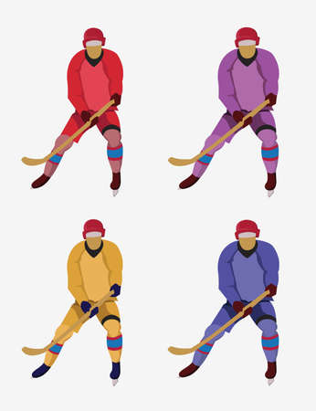 hurl: Hockey Players in Colorful Uniforms with hockey sticks and skates. Colorful winter sports mascot or emblem of a hockey men players. Digital vector illustration. Illustration