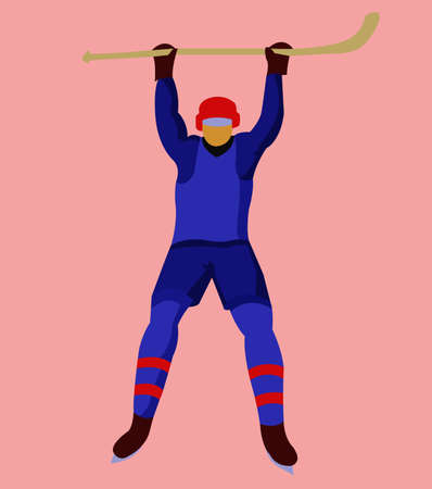 hurl: Hockey Player in Blue Uniform with a hockey stick and skates. Colorful winter sports mascot or emblem of a hockey man player. Digital vector illustration.
