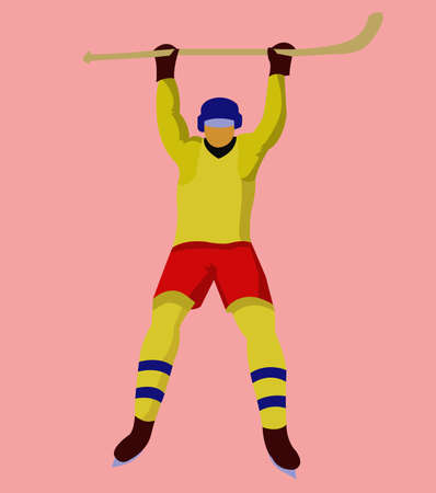hurl: Hockey Player in Yellow Uniform with a hockey stick and skates. Colorful winter sports mascot or emblem of a hockey man player. Digital vector illustration. Illustration